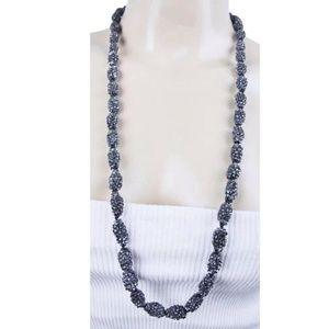 BCBG Necklace Gunmetal Tone Textured Bead Strand